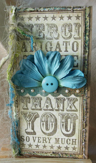 Julie Dudley - Thank You Noteblock Blue half flower
