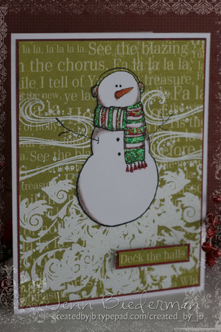 Jenn B - Snowman & damask snow card