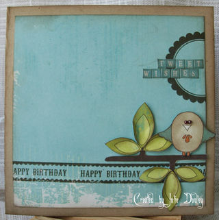 Julie - Happy Birthday border tape bird card