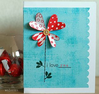 Waleska - i love you heart flower card