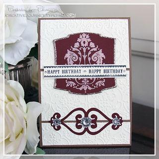 Christine - Happy Birthday Damask