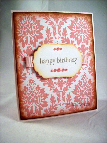 Joy Taylor - Happy Birthday Rose Damask Card