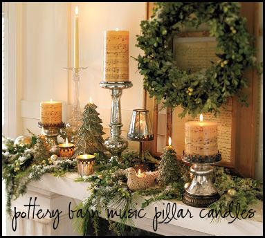 Pottery Barn Music Pillar Candles