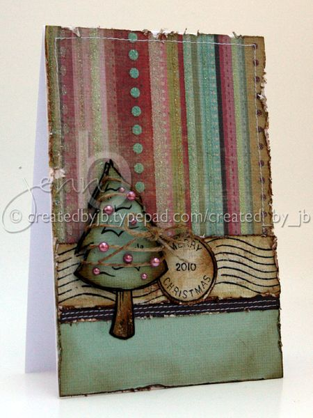 Jenn Biederman - Pine Tree and Holiday Postmark Card
