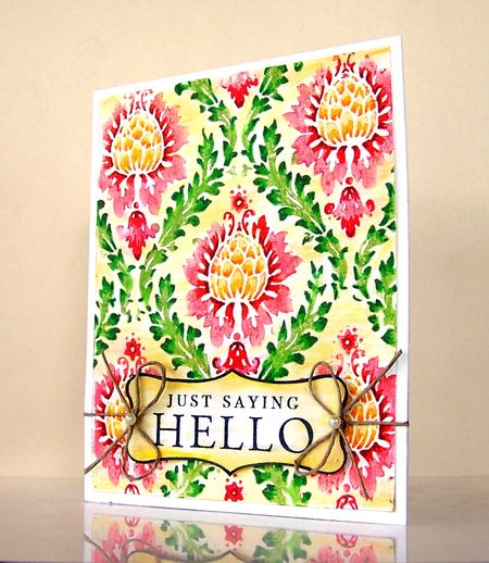 Jill Foster - Damask Saying Hello Card