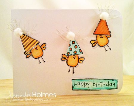 Jennifer Holmes - Party Hat Bird Card