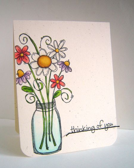 Alice Wertz - Bouqet in Jar Thinking of You Card