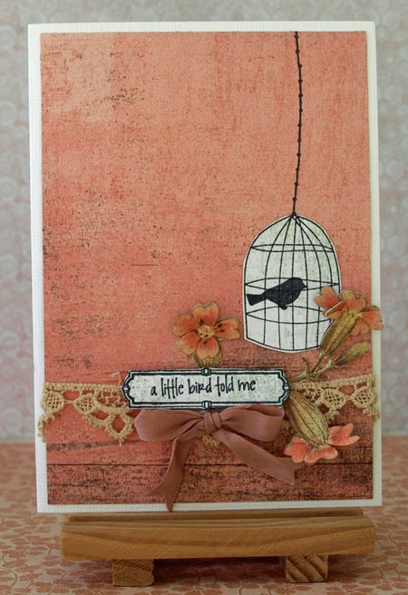Julie Dudley - A little bird told me coral card
