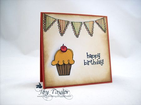 Joy Taylor - Happy Birthday Cupcake Banner Card