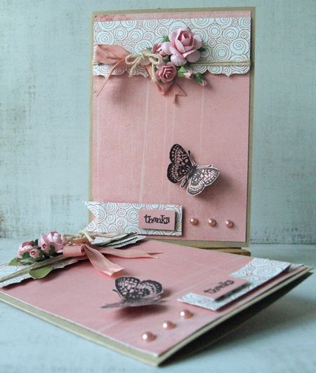 Julie Dudley - Pink Butterfly Thanks Card
