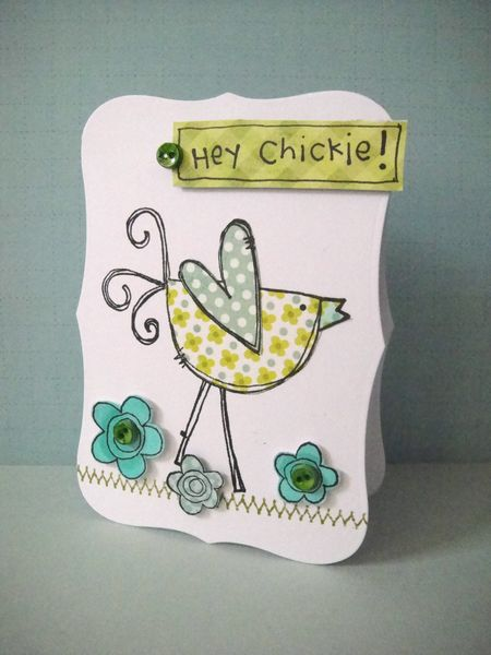 Donna Mikasa - Blue Green Flower Chickie Card