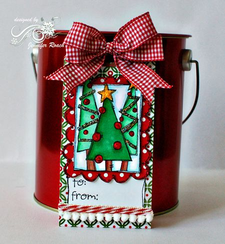 Jennifer Roach - Christmas Tree Doodle Frame Tag