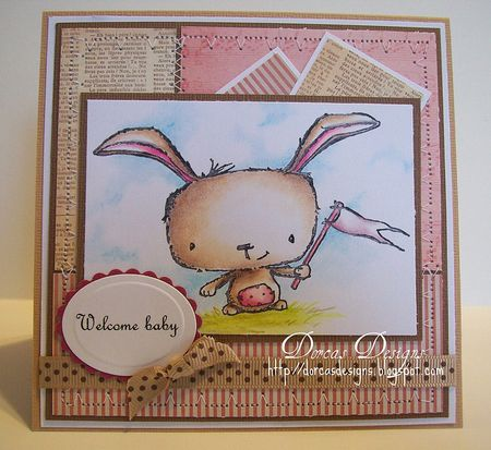 Dorcas Perkins - Poppy Bunny Welcome Baby Card