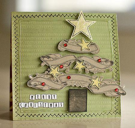 Laura - ribbon label christmas tree card