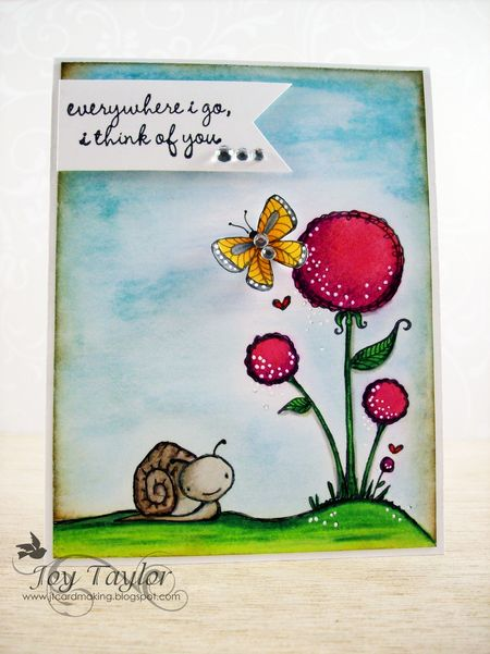 Joy Taylor - flower, snail, butterfly card