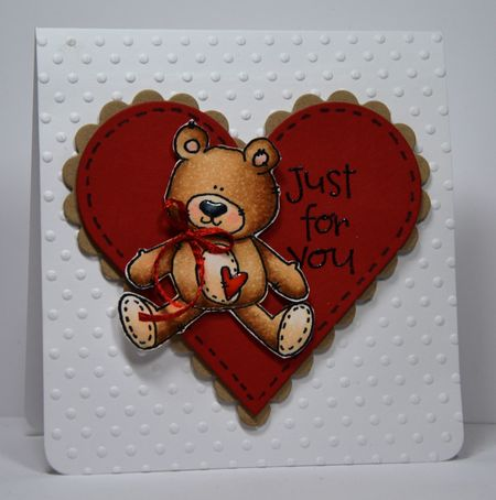 Kelly Booth - Sam Bear Just For You Heart Card