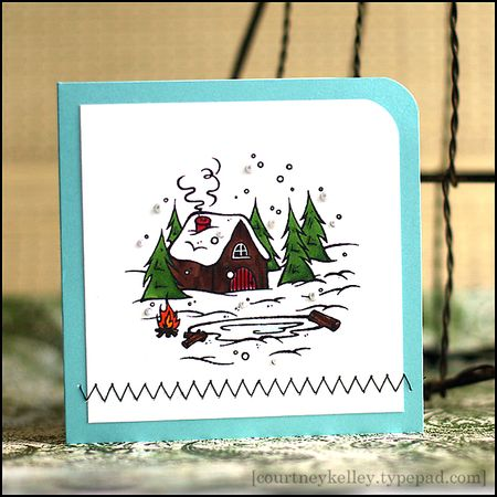 Courtney Kelley - Winter Cabin Scene Card
