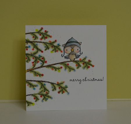 Paula Williamson- Snowy Cedar Tree Branch Merry Christmas Card