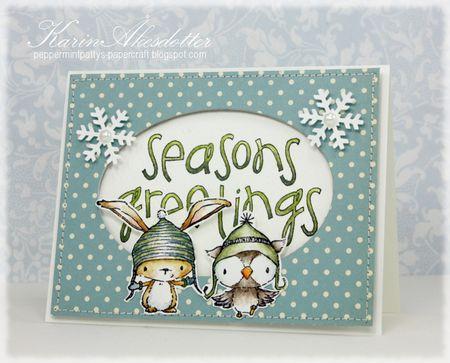 Karin Akesdotter - Birch and Snowy Seasons Greetings Card - side