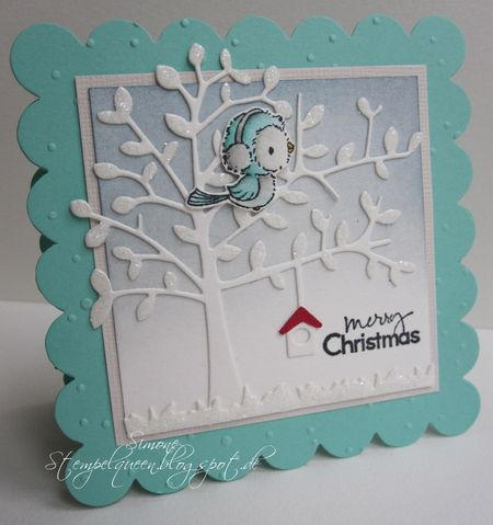 Simone Schwagler - Silver and Diecut Tree Merry Christmas Card