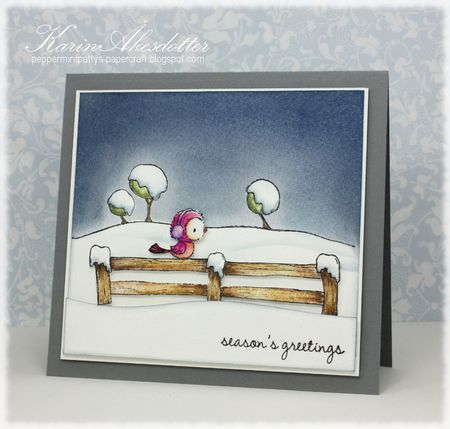Karin Akesdotter - Silver Snowy Fence Season's Greetings Card - side