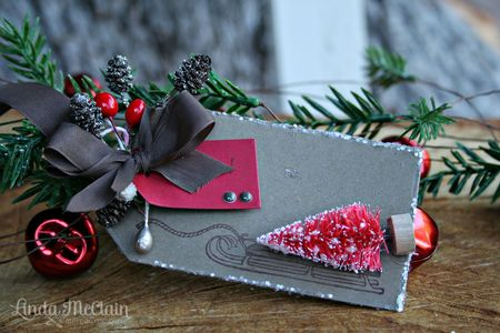 Linda McClain - Sled and Tree Tag - red