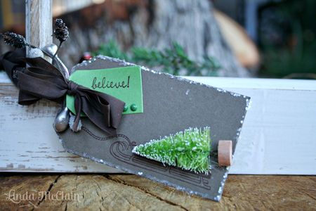 Linda McClain - Sled and Tree Tag - green