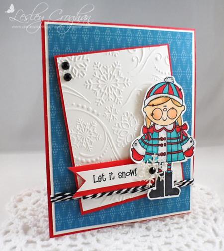 Lesley Croghan - Vertical Ginger Let It Snow Card