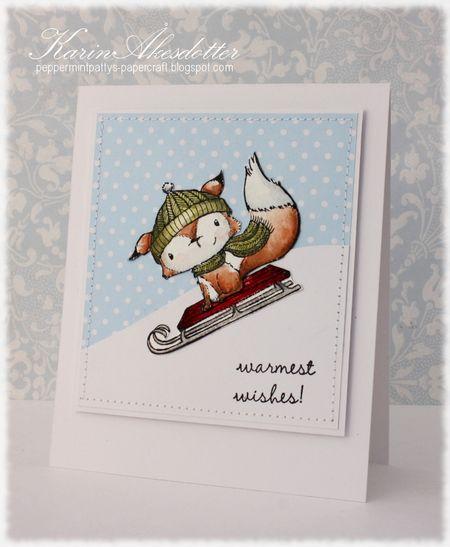 Karin Akesdotter - Cedar Sled Warmest Wishes Card - side