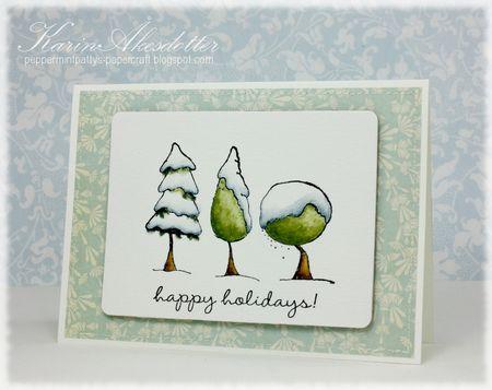 Karin Akesdotter - Snowy Trees Happy Holidays Card -side