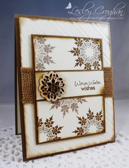 Lesley Croghan - Snowflake Card Brown