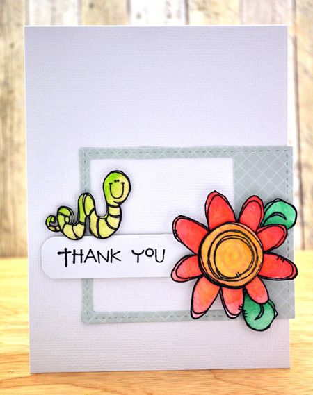 Judith Gowdy - Love Bug & Flower Thank You Card