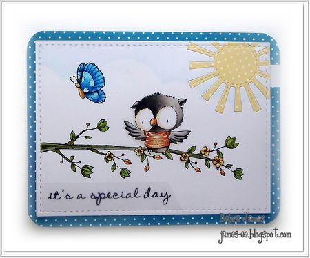Debra James - Ruby and Hush Blossoming Perch card