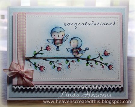 Linda Heavens - Robin and Blossoming Perch Card