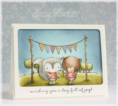 Karin Akesdotter - Charlie and Jackson Bunting Card - side