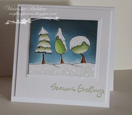 Vivienne Holden - Glittery Snowy Trees Card