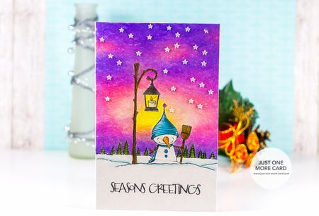 Julia Alterman - Snow starry dusk sky card
