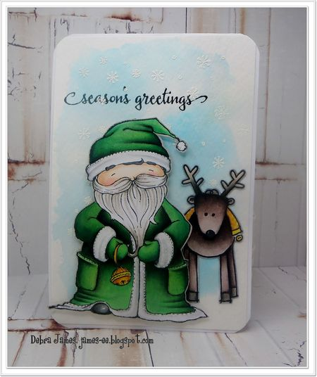 Debra James - Santa and Reindeer Card