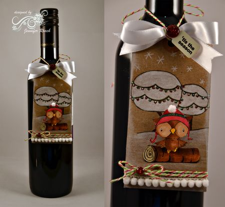 Jen Roach - Stacey Yacula Sparkly Trees and Owl wine tag