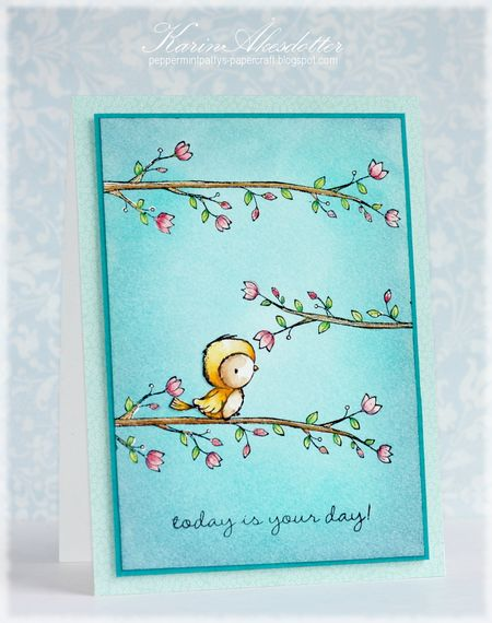 Karin Akesdotter - Robin and Blossoming Perch Card - side
