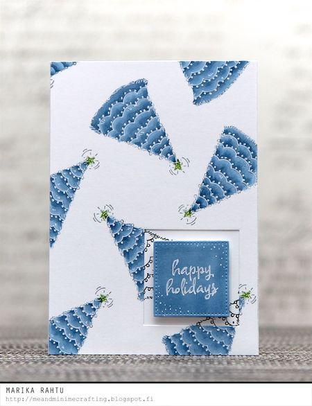 Marika Rahtu - Denim Decorated Trees Card