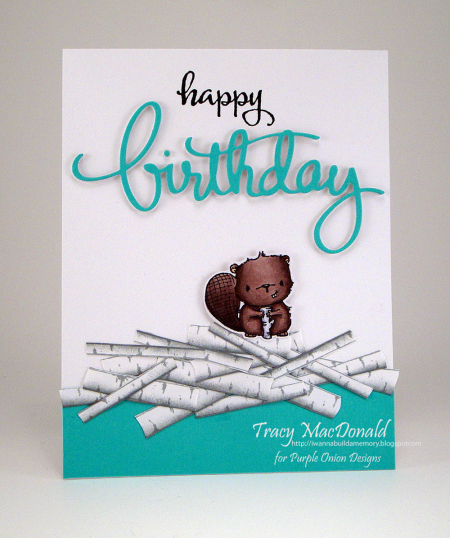Tracy MacDonald - Timber Birch Pile Birthday Card