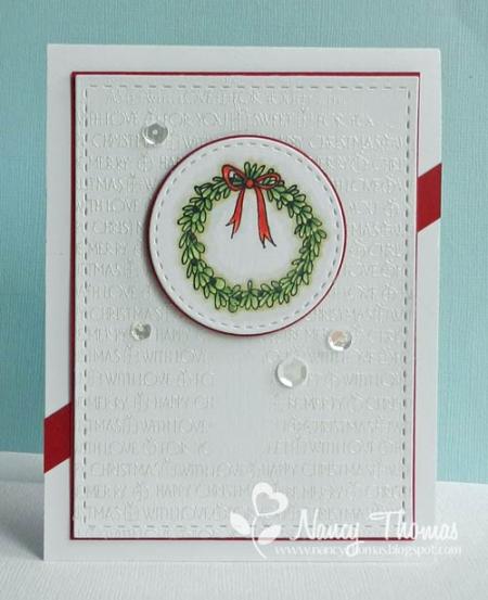 Nancy Thomas POD Boxwood Wreath Merry Bkgrd