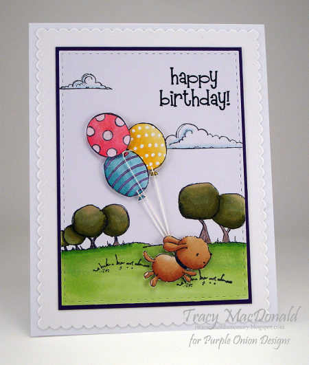 Tracy MacDonald - Buddy Happy Birthday Balloon Card
