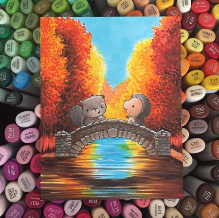 Sandy Allnock - Milly and Forrest Bridge Autumn Background Card