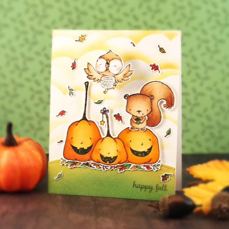 Amy Yang - Happy Pumpkins - Cinnamon and Nutmeg Fall Card