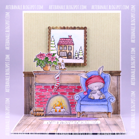 Agnieszka Danek-Wisniak - Sugar Plum and Fireplace Pop Up Card - straight
