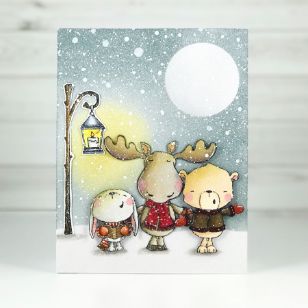 Amy Yang - Carolers Winter card