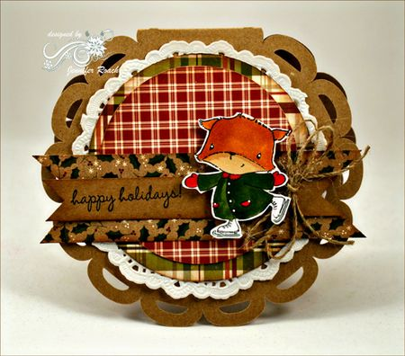 Jen Roach - Stacey Y Skating Fox round scallop card