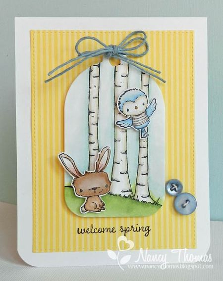 Nancy Thomas POD Birch Tree Buttercup Robin
